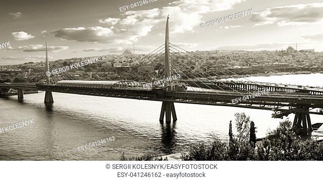 Metro station on Golden Horn bridge in Istanbul, Turkey