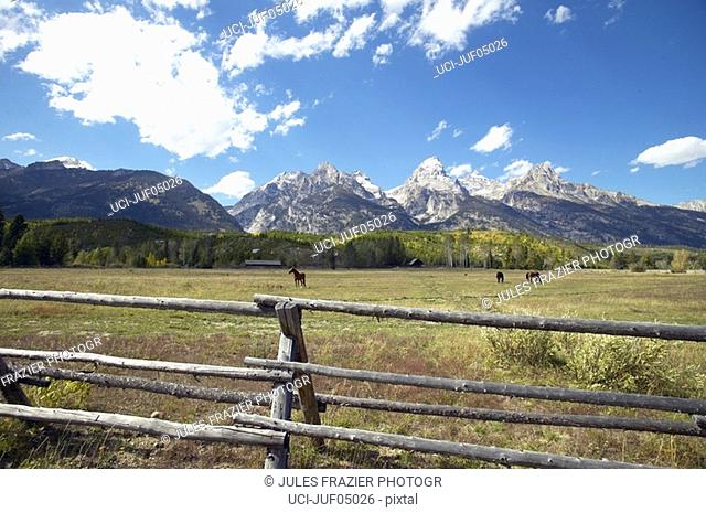 Wooden fence at horse ranch, Grand Tetons, Wyoming, United States