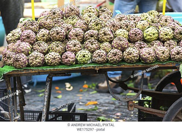 Artichokes for sale on market stall at Campo de' Fiori Market, Rome, Italy