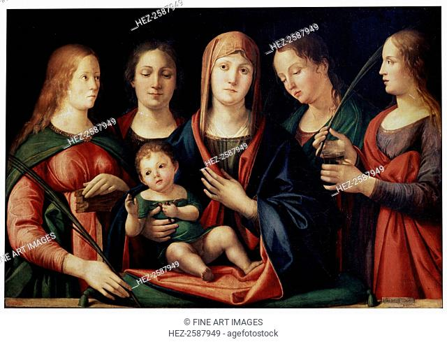 'Madonna and Child with Mary Magdalen, Saint Catherine and two Saints', 1504. Found in the collection of the State Hermitage, St Petersburg
