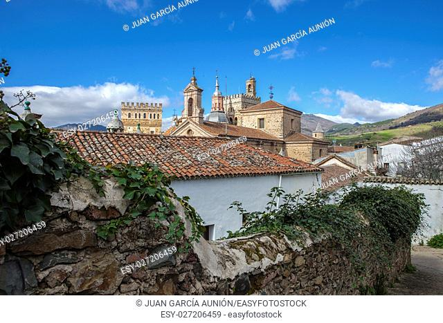View of historic building roofs of Guadalupe Town, Caceres, Extremadura, Spain