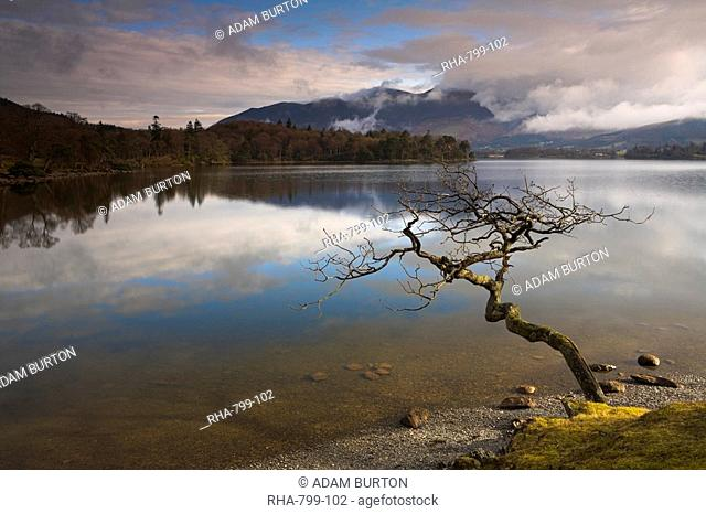 Sunshine on a cloudy morning at Derwent Water, Lake District National Park, Cumbria, England, United Kingdom, Europe
