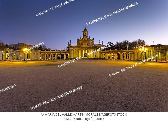 St. Antonio square and church in Aranjuez at the blue hora. Madrid. Spain. Europe