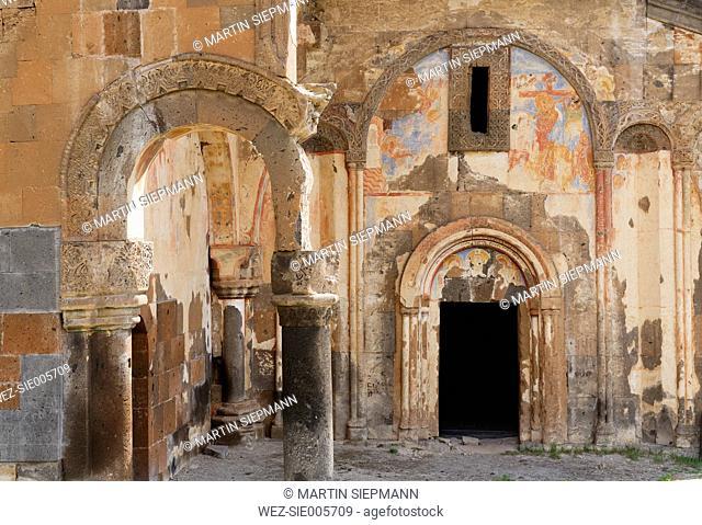 Turkey, Anatolia, Kars, former Armenian capital Ani, Western portal of Tigran Honents' Gregory's church