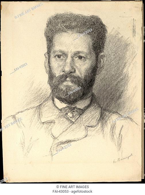 Portrait of the sculptor Mark Matveyevich Antokolsky (1843-1902) by Vasnetsov, Viktor Mikhaylovich (1848-1926)/Pencil on Paper/Realism/1882/Russia/State Museum...