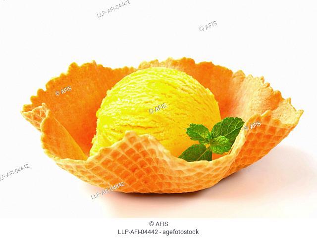 Lemon custard ice cream in a waffle basket