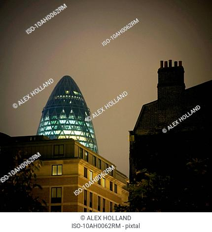 Gherkin building at night