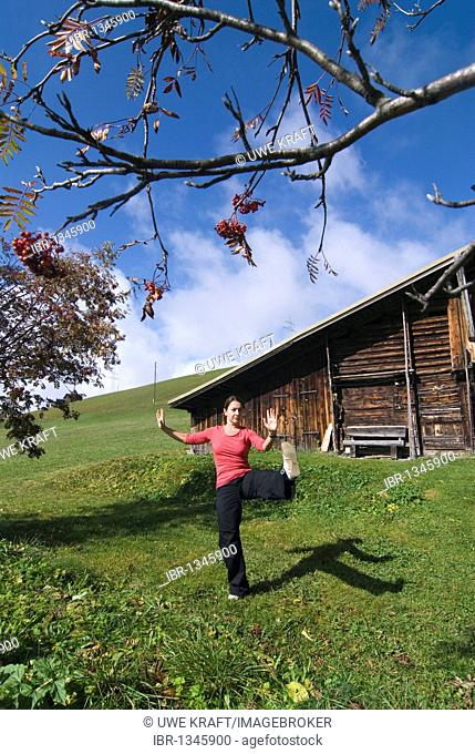 Woman in her early 40s doing Tai Chi in front of a wooden hut in the Swiss Alps, Switzerland, Europe
