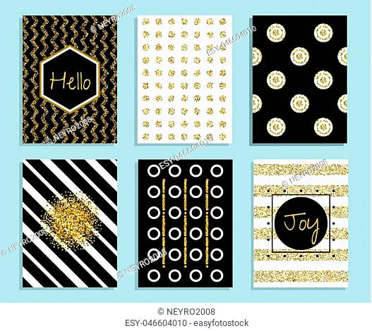Gold, white and black gift card template with texture of gold foil. Glitter dots and stripes patterns