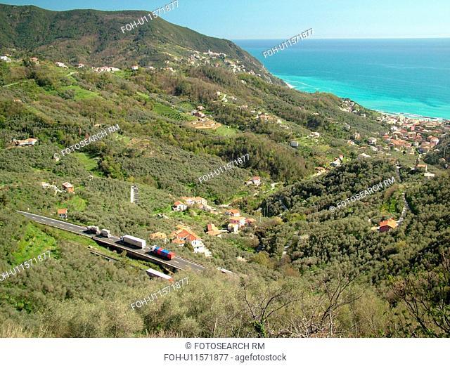 Moneglia, Liguria, Italy, Riviera di Levante, Ligurian Riviera, Europe, Scenic aerial view of the town of Moneglia along the Ligurian Sea