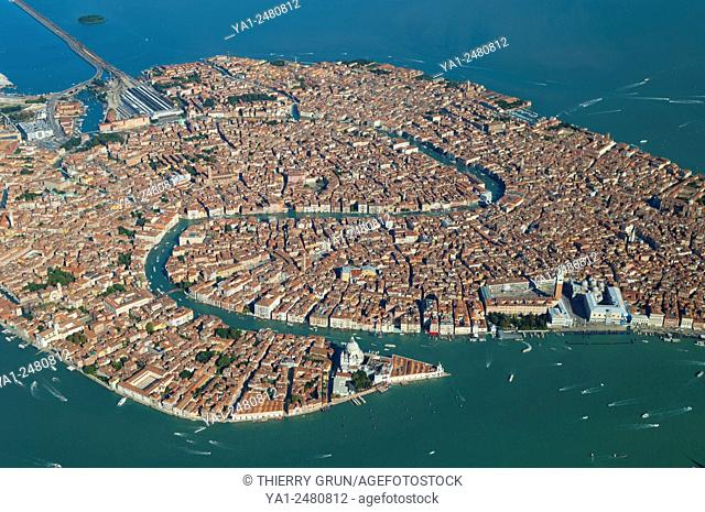 Italy, Venice city with Grande Canal aerial view