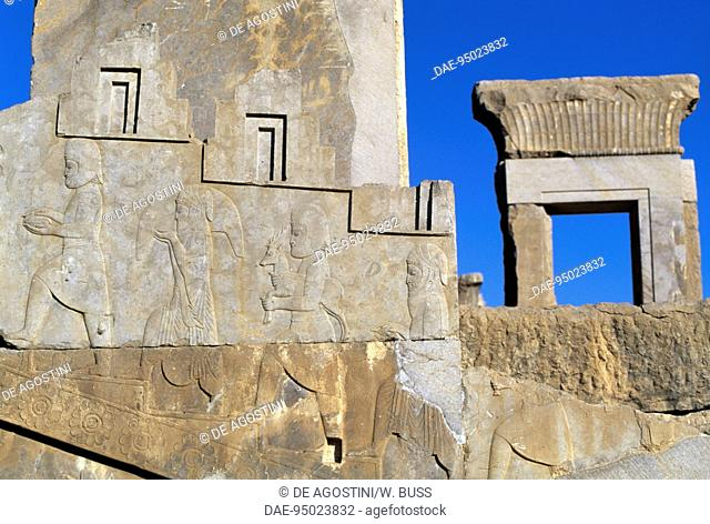 Relief depicting figures making an offering, west staircase, Darius I Palace in Persepolis (UNESCO World Heritage List, 1979), Iran
