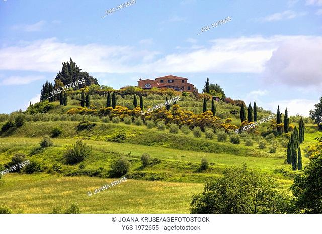 farm house on a hill in Tuscany, near Chiusi, Italy