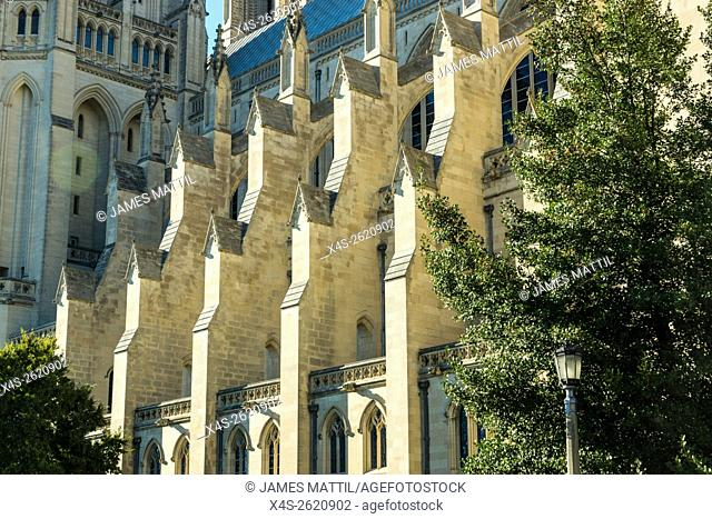 Sunlight shines on the flying buttresses of the Washington Cathedral in Wash. D. C