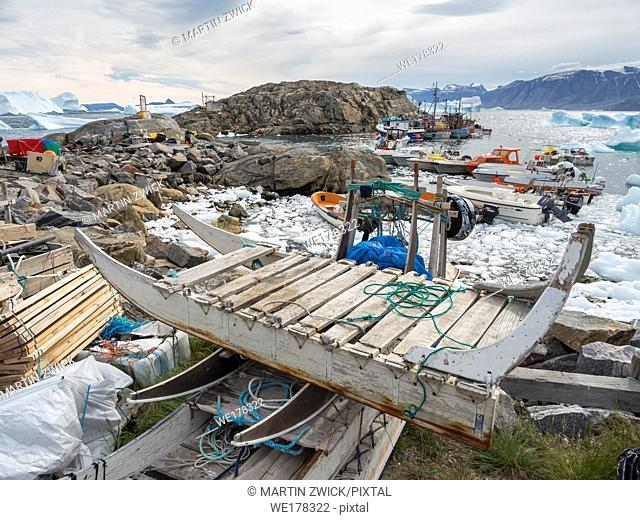 The harbour. The town Uummannaq in the north of West Greenland, located on an island in the Uummannaq Fjord System. America, North America, Greenland
