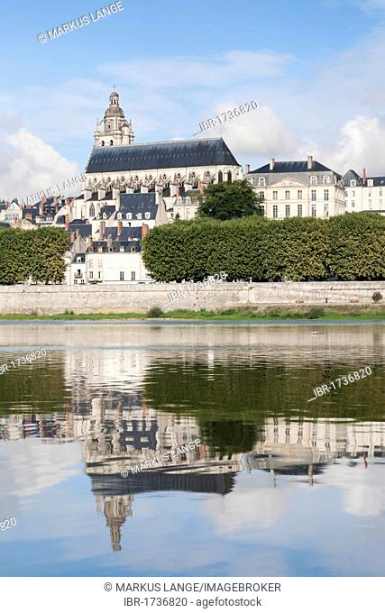 Blois Catherdral reflected in the Loire River, department of Loire et Cher, France, Europe