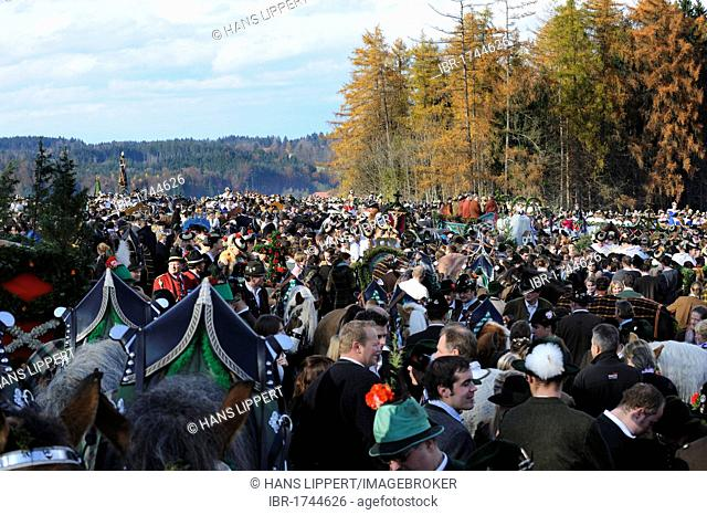 Leonhardifahrt, a procession with horses for the feast day of Saint Leonard of Noblac, blessing on Kalvarienberg, Calvary Hill, Bad Toelz, Upper Bavaria