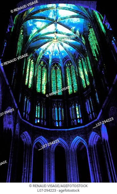 Night show at the Abbey. Mont St-Michel. Normandy. France