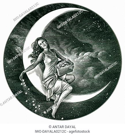 Woman sitting on the moon sprinkling stars in the sky