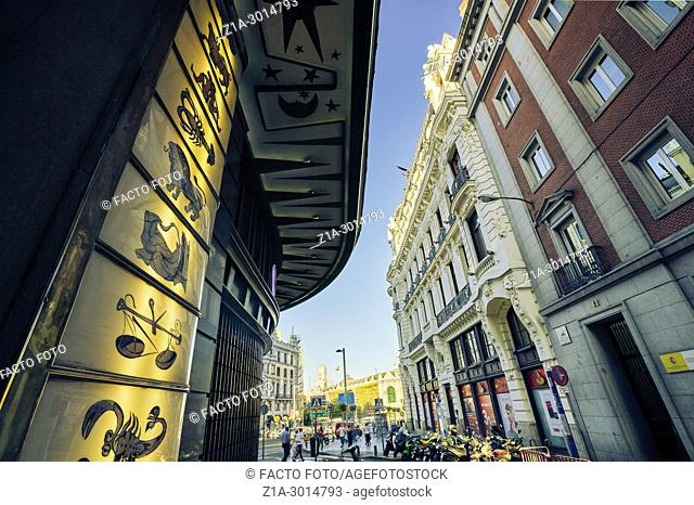 Low angle view of Gran Via Street. Madrid. Spain
