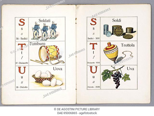 Pages of Per il Mondo piccino ABC figurato (For the Children's world, Illustrated ABC), 1900, children's primer, published by Paravia