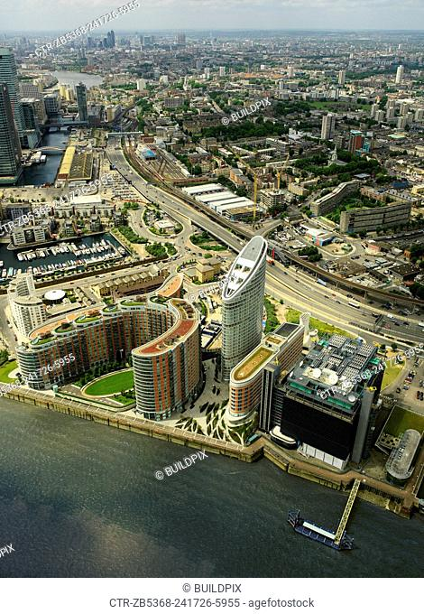 Aerial view of large property development (New Providence Wharf) on the river Thames, London, UK. Architects SOM