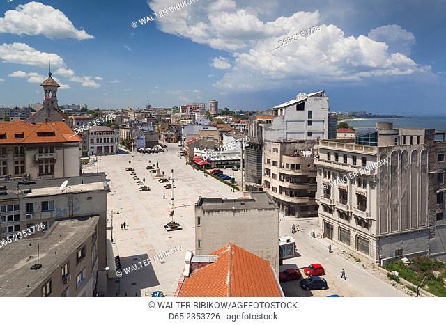 Romania, Black Sea Coast, Constanta, Piata Ovidiu, Ovid Square, elevated view