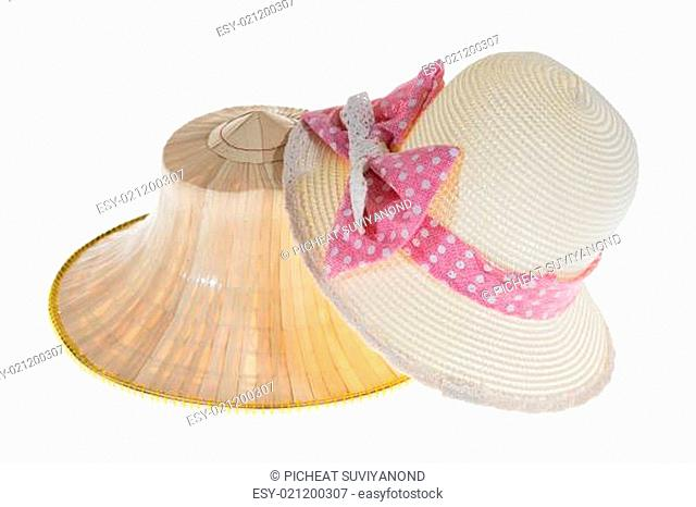 Thai Farmers Palm Hat With Sweet Hat With Pretty straw hat On White Background