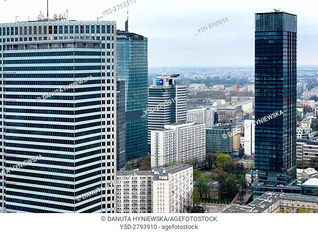Panoramic view of city center of Warsaw, first to left skyscraper - Emilii Plater street number 53 is WFC - Warsaw Financial Center