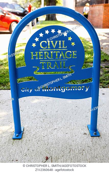 Civil Heritage trail sign in Montgomery Alabama