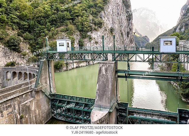 Dam at the Furlo Gorge in Acqualagna, Marche, Italy