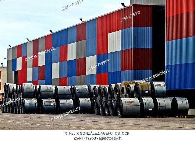 Steel cargo at Aviles harbour, Asturias, Spain