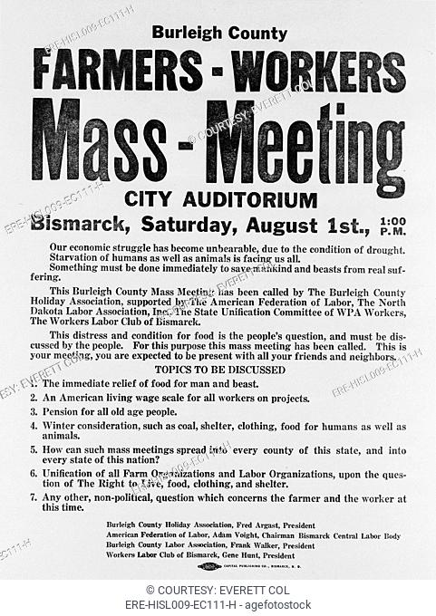 Announcement for a 1937 Farmers Mass meeting sponsored by organized labor, listed demands for relief, wages and pensions