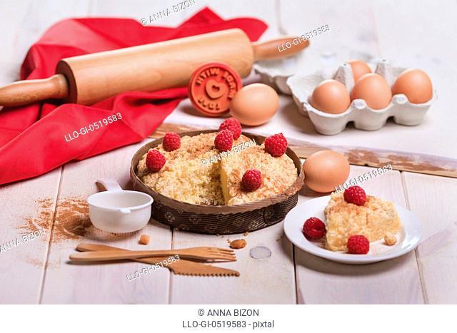 Fresh dessert of fruit tart with raspberries. Debica, Poland