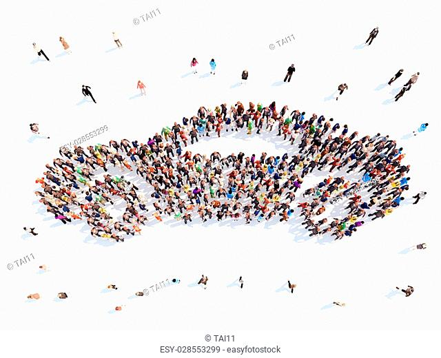 Large group of people in the form of a car. Isolated, white background