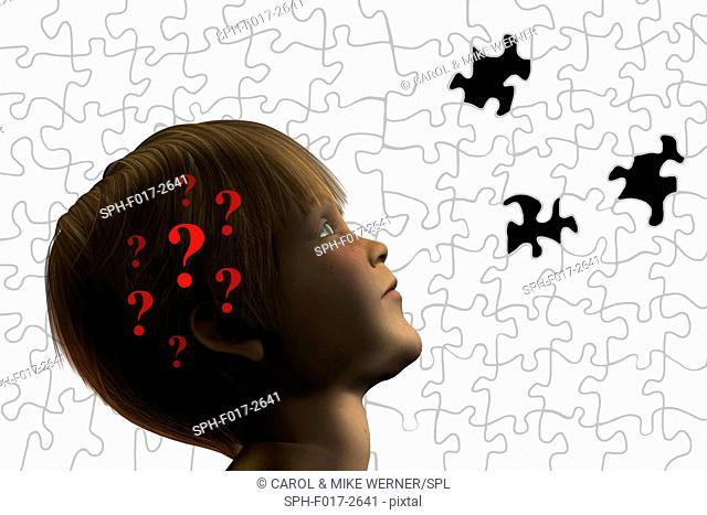 Illustration of a boy with question marks in his head against a jigsaw puzzle background with missing pieces