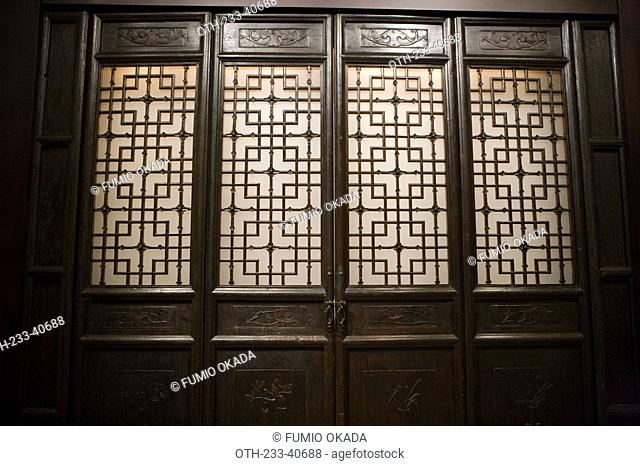 An exhibit of historical chinese partition in Hong Kong Heritage, New Territories, Hong Kong
