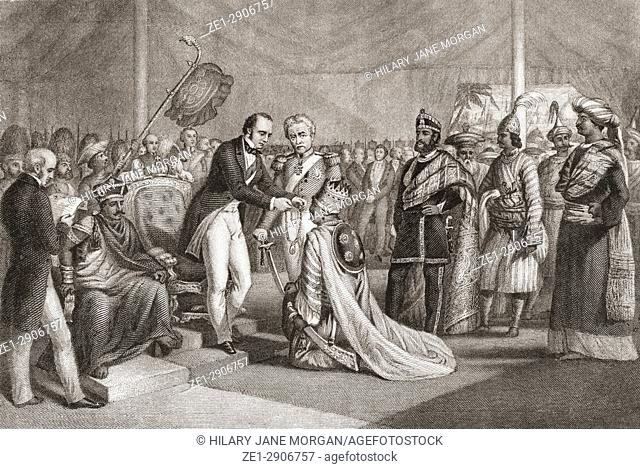 Grand Durbar at Cawnpore after the supression of the Sepoy Revolt. Lord Canning investing the loyal Rajahs with decorations and proprietory rights