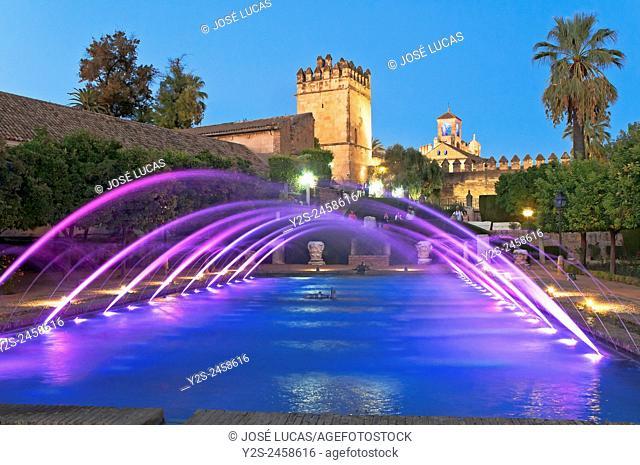Alcazar de los Reyes Cristianos, Ponds and gardens, Cordoba, Region of Andalusia, Spain, Europe