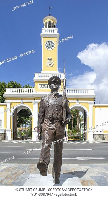 Statue of a soldier outside the entrance to the military base of Arsenal Cartagena in Murcia Spain