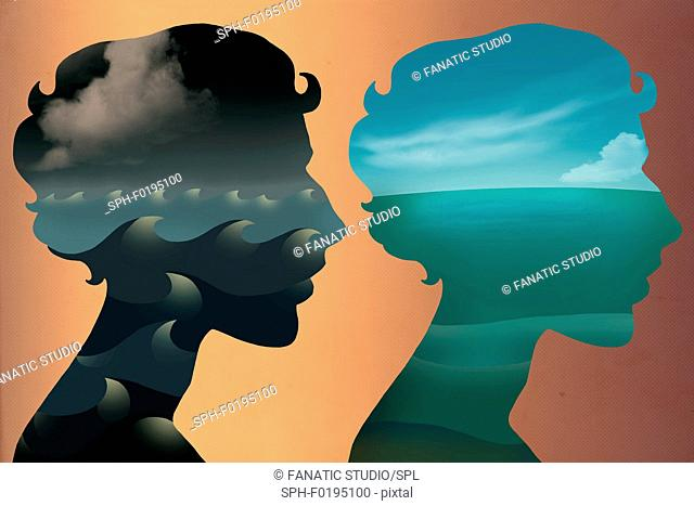 Illustration of comparison between two state of minds
