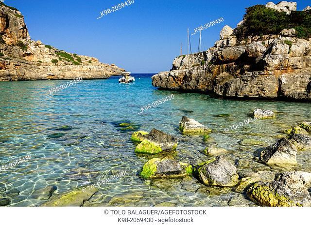 yachts anchored, Cala Marmols, Ses Salines, Majorca, Balearic Islands, Spain