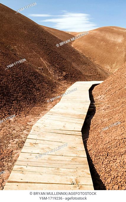 Wooden walkway through the Painted Hills John Day Fossil Bed National Monument in Or
