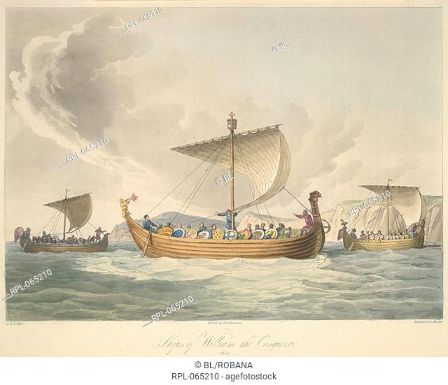 The Norman fleet of William the Conqueror. Anno 1066. Image taken from The Costume of the original inhabitants of the British Islands from the earliest periods...