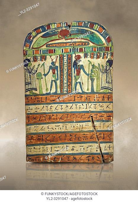 Ancient Egyptian voitive stele of Takasu for the Gods Harmakhis and Atun from Thebes. Ancient Egypt 25/26 Dynaty, 630 BC