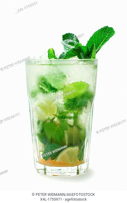 Cocktail, Mojito lime, mint, brown sugar, lime juice, white rum, soda