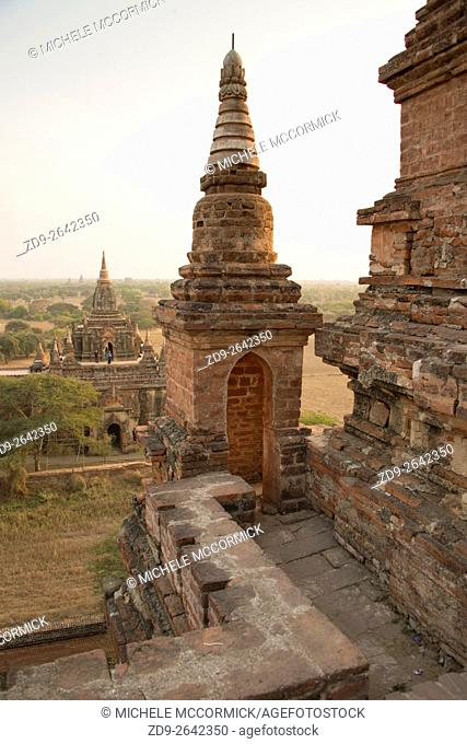 Details of an ancient Burmese temple at sunset