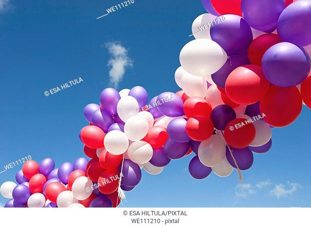 group of floating balloons