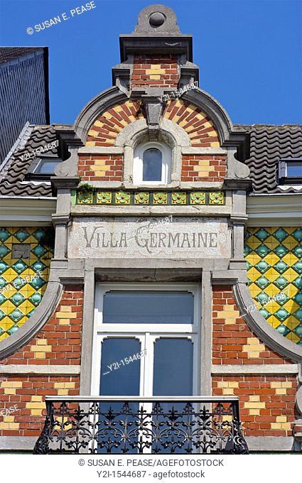Detail of 'Villa Germaine,' an Art Nouveau townhouse in the EU District, Brussels, Belgium