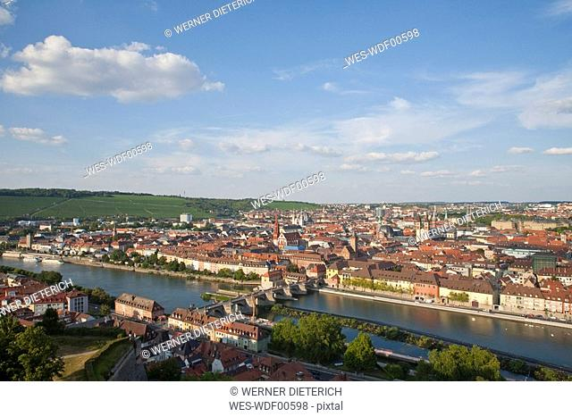 Germany, Bavaria, Franconia, W¸rzburg, View of the town, elevated view